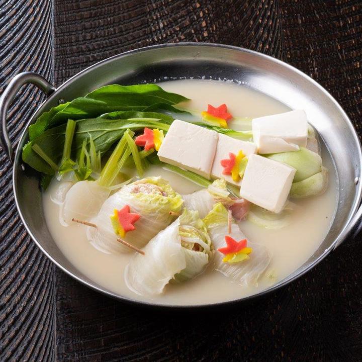白菜と鶏肉の豆乳鍋